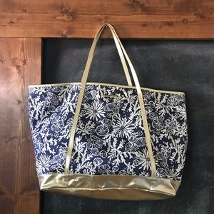 Lilly Pulitzer blue and gold coral reef bag
